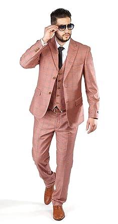 14cac98c20e Slim Fit Suit Salmon 2 Button 3 Piece Vested Peak Lapel Windowpane  Checkered 1742 (34
