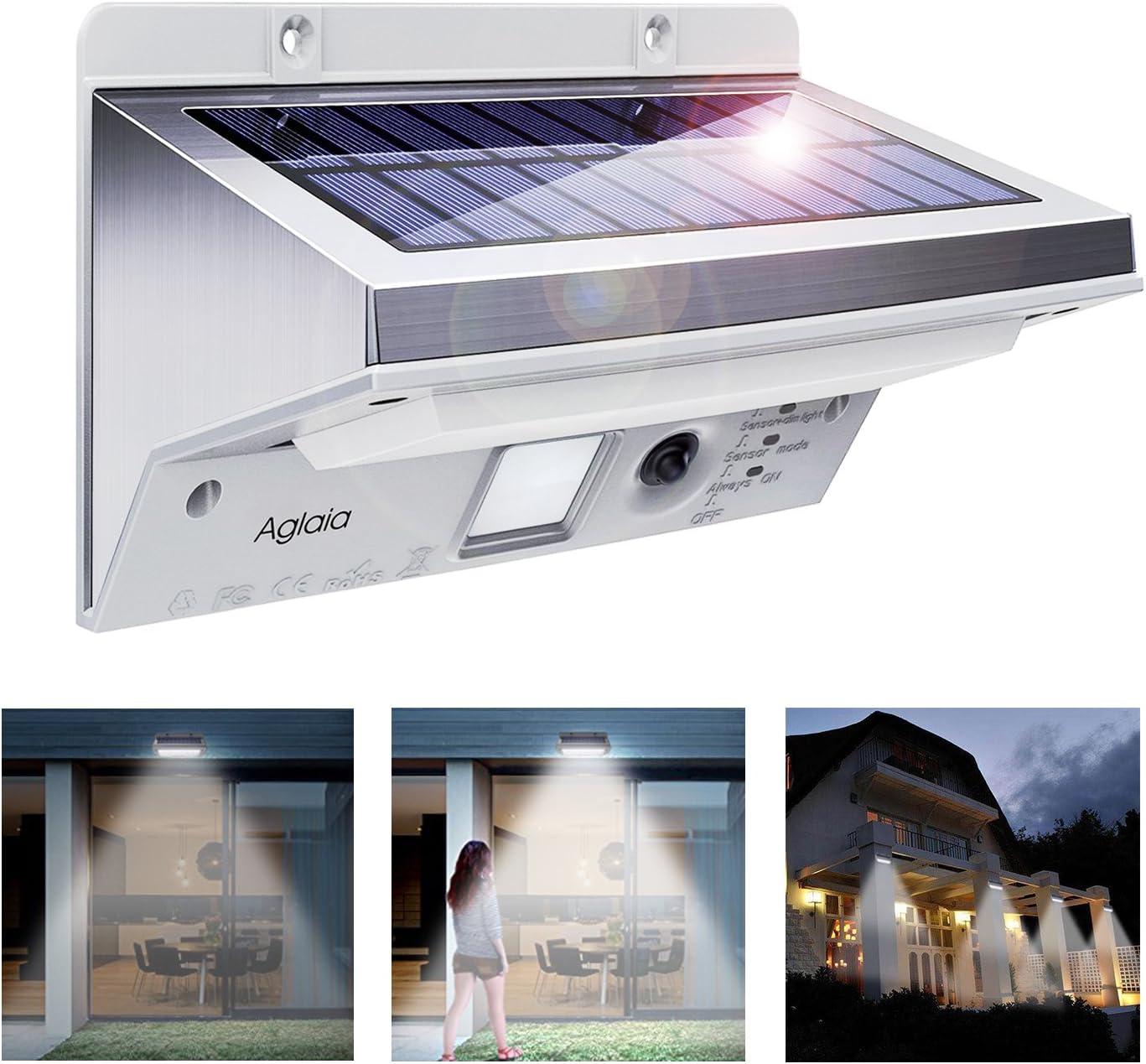 Luces Solares, Aglaia Lámparas Solares luz solar LED/foco LED con 2 Sensores de Movimiento, 12 LEDs con 5 Modes de Iluminación para Jardín, Patio, Exterior (Negro) (white): Amazon.es: Iluminación