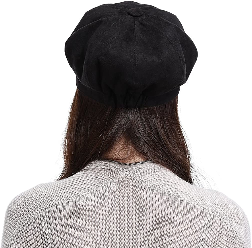 Jimall Ladies Winter Warm Faux Suede 8 Panel Baker Boy Cap Peaked Beret Hat