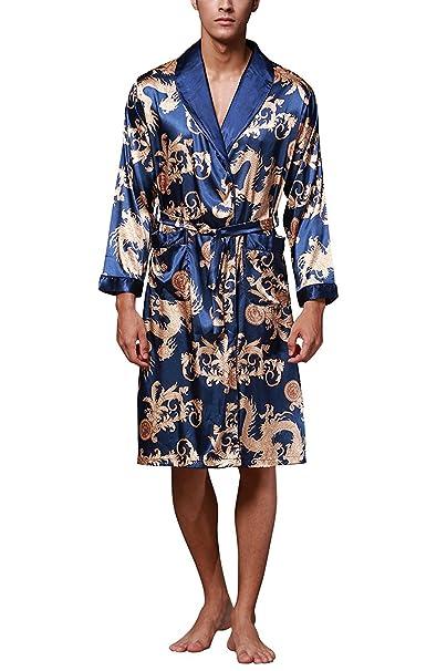TieNew Nuevo Baño para Hombre,Satén Kimono Pijamas, Bata Albornoz de Para Dormir/Casa/Cama/Spa, Multicolor, L-XXL, Talla extra: Amazon.es: Ropa y accesorios