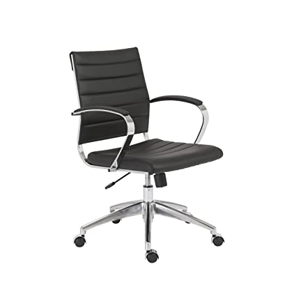 Terrific Euro Style Axel Low Back Soft Leatherette Adjustable Office Chair With Chromed Steel Frame Black Andrewgaddart Wooden Chair Designs For Living Room Andrewgaddartcom