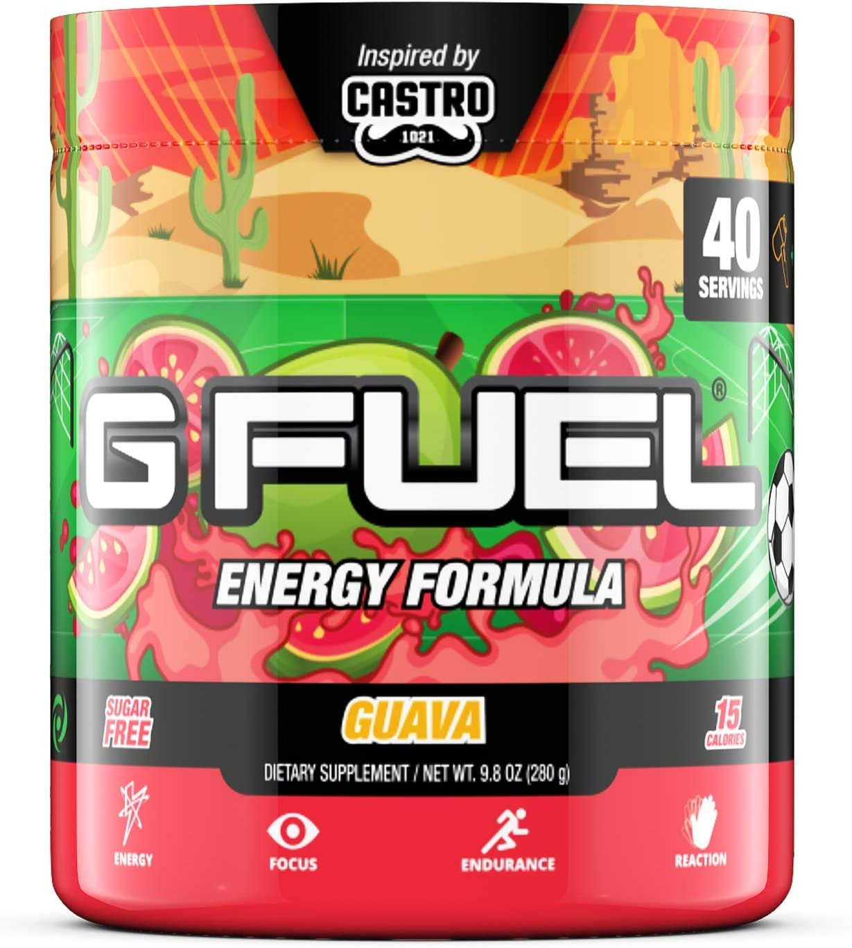 G Fuel Guava 40 Servings Elite Energy and Endurance Formula 9.8 oz.
