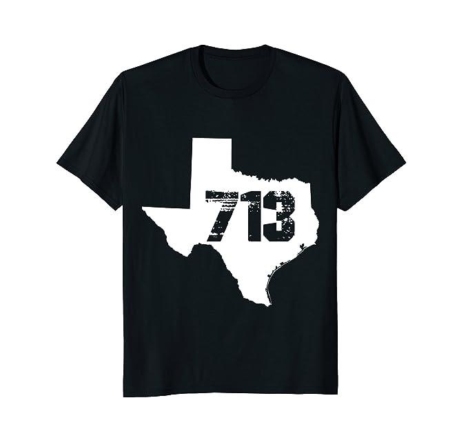 Mens Houston Texas 713 Area Code T Shirt 2XL Black
