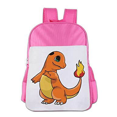 Boys Girls Pokemon Charmander Pikachu Backpack School Bag (2 Color Pink  Blue) Pink bb77686954221