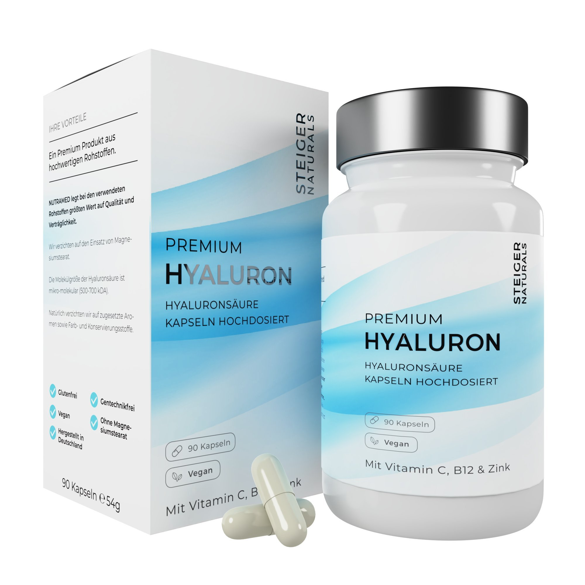 Hyaluronsäure Kapseln – Hochdosiert mit 350 mg. 90 Stück (3 Monate). Mit Vitamin C, B12 und Zink. Hyaluron mit 500-700 kDa. Vegan – Für Haut, Anti-Aging und Gelenke – Hyaloronsäure product image