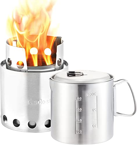 Solo Stove Pot 900 Combo Ultralight Wood Burning Backpacking Cook System. Lightweight Kitchen Kit for Backpacking, Camping, Survival. Burns Twigs, No Batteries or Liquid Fuel Gas Canister Required