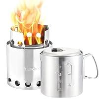 Solo Stove & Pot 900 Kombi: Ultraleichter Holzofen mit Rocket-Kochsystem. Leichtes Küchenset für Backpacking, Camping, Überlebenstraining, Vorbereitung auf Notfälle. Verbrennt Zweige - keine Batterien oder Kanister mit Flüssigbrennstoff notwendig.