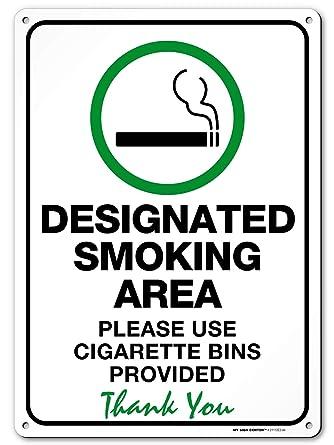 Amazon.com: Señal de zona de fumar designada, por favor ...