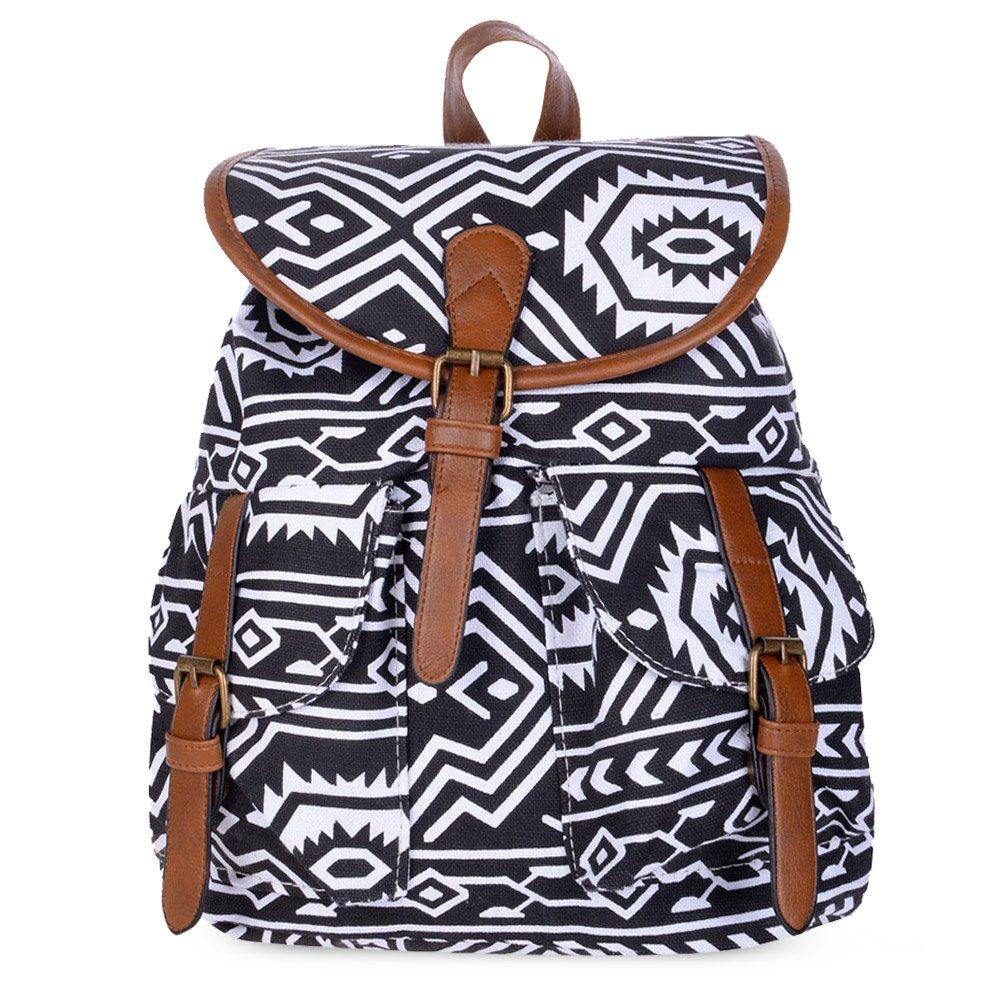 Vbiger Canvas Backpack for Women & Girls Boys Casual Book Bag Sports Daypack (Geometric)