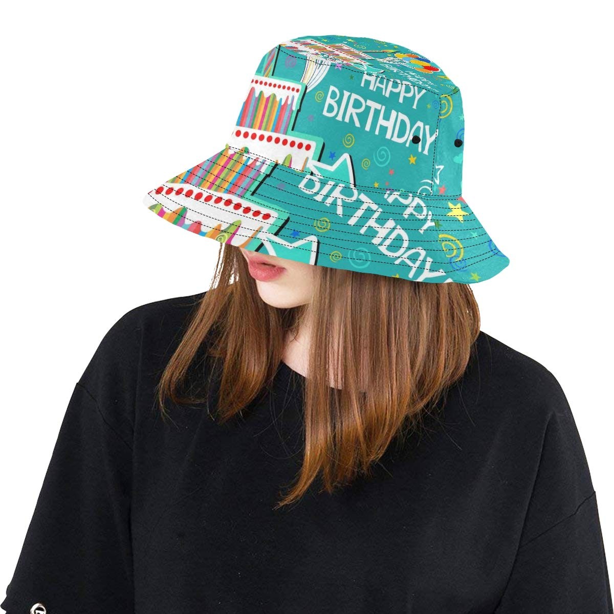 Happy Birthday Cute Funny Card New Summer Unisex Cotton Fashion Fishing Sun Bucket Hats for Kid Teens Women and Men with Customize Top Packable Fisherman Cap for Outdoor Travel