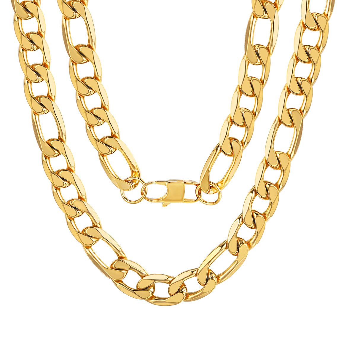 Send Gift Box ChainsPro Mens NK 3:1 Figaro Chain Necklace-4//5//6//7.5//8//9//12//13MM Width 18K Gold Plated//316L Stainless Steel//Black 18-30
