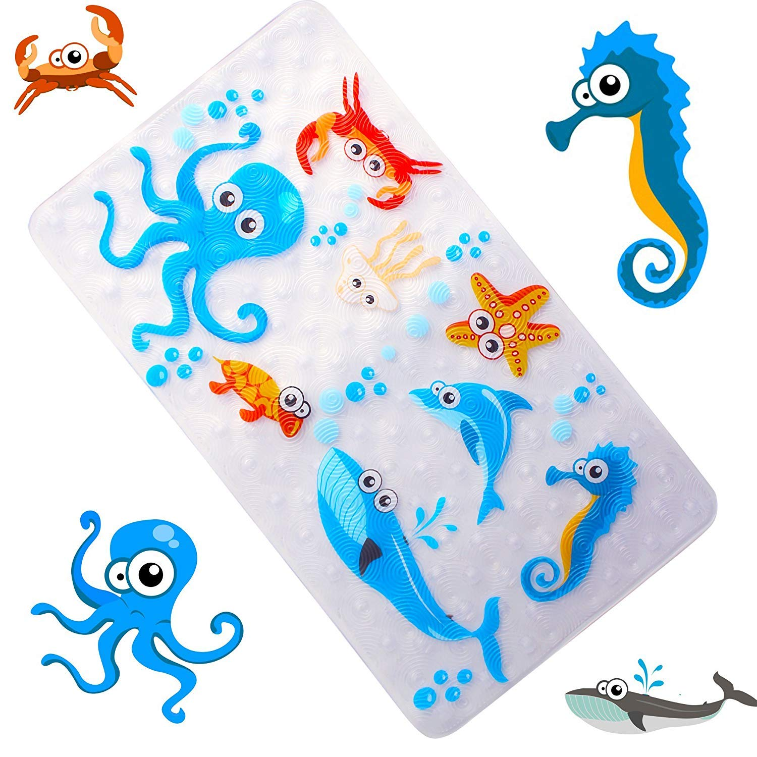 Non-Slip Bath Mat Bathtub and Shower Mat for Baby Kid's,Anti-Bacterial,Machine Washable,Large Toddler Rubber Anti Non Skid Bath Matts Fits Any Size Bath Tub,16inchx27inch (Sea world) WARRAH A--6WARRAH L--27