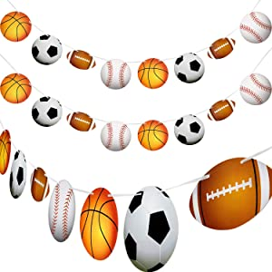 4 Pieces Sports Theme Banner Sports Bunting Hanging Banners Basketball Football Baseball Soccer Paper Garland for Birthday Baby Shower Sports Theme Party Decorations