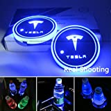 2pcs LED Car Cup Holder Lights for Tesla, 7 Colors Changing USB Charging Mat Luminescent Cup Pad, for Tesla Roadster Model S