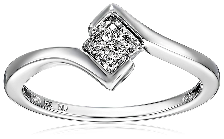 14k White Gold Princess-cut Solitaire Diamond Bezel-Set Engagement Ring (1/5 cttw, I-J, I1-I2)