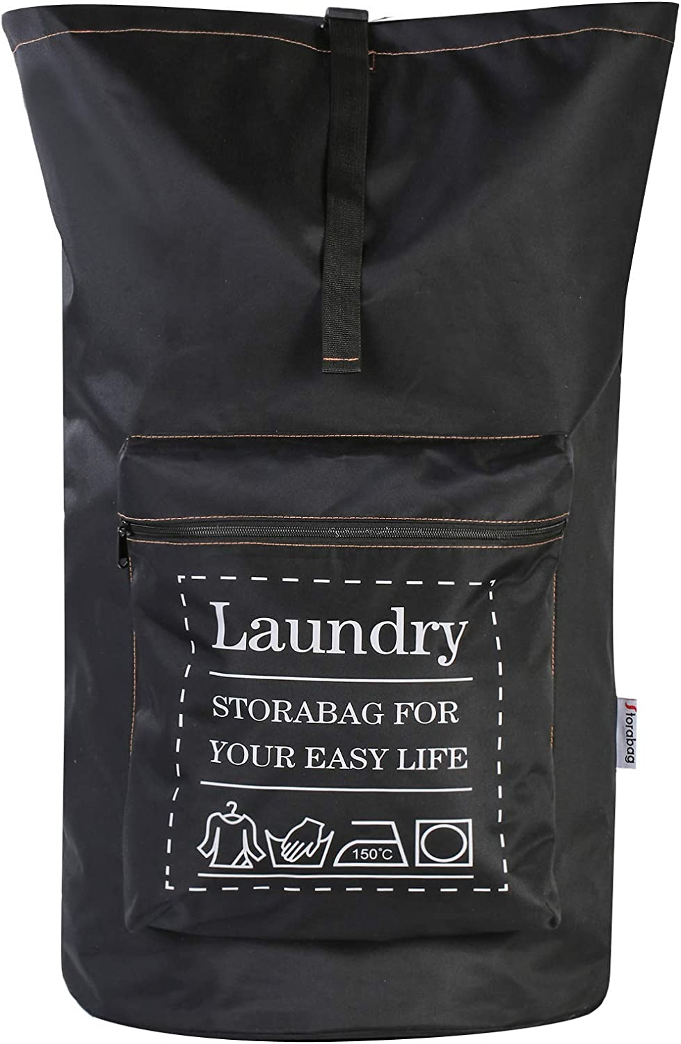 Extra Large Backpack Laundry Bag with Adjustable String (Black)