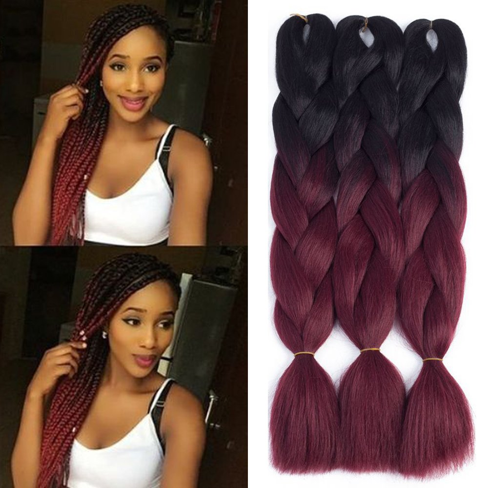 Dingxiu 3packs 24inch Ombre Braiding Hair Extensions Afro Jumbo Braids Synthetic Fiber Hair Two Tone