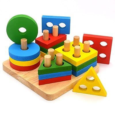 J Robin Forma geométrica Tablero Stack & Sort de Madera Color y reconocimiento Juguetes de Rompecabezas para Bebés niños pequeños: Juguetes y juegos