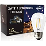 BRIMAX Filament S14 LED Light Bulbs Dimmable Clear Glass, 2700K Warm White 180LM, 2W to Replacement 20W 11S14 Incandescent Edison Bulbs, 120VAC E26 Medium Screw Base Outdoor Lamp, 15 pack