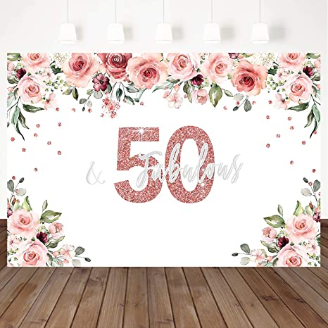 Mocsicka 50 Fabulous Backdrop Watercolor Floral Background Shining 50Th Birthday Party Banner Decoration Birthday 7X5ft Vinyl Custom Party Party Photo ...