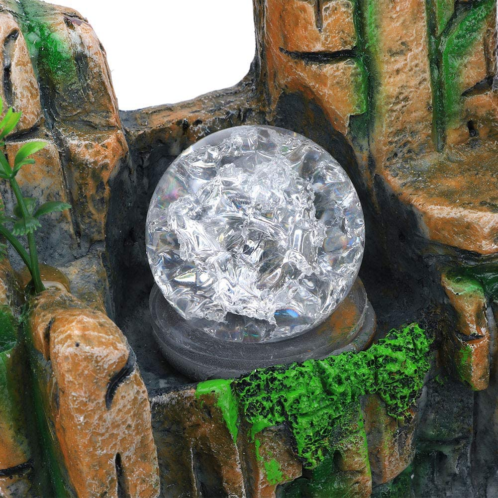 Living Room or Bedroom,etc Caredy Tabletop Fountain Simulation Rockery/Indoor Fountain Waterfall Decor with Light Home Decor for Decorating Office Atomizing Effect US Plug 110V