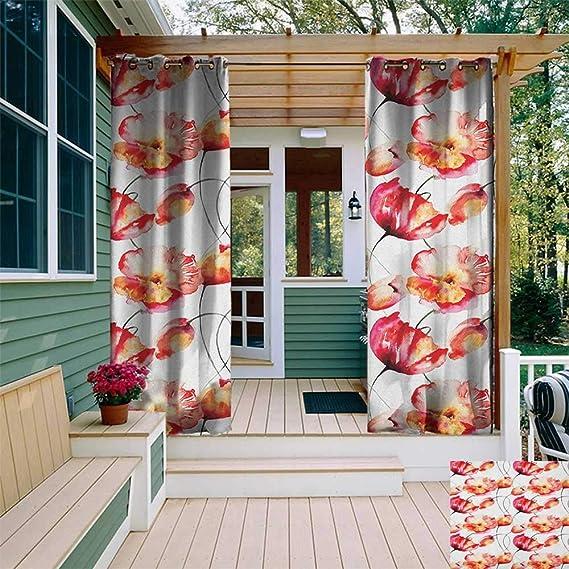 leinuoyi - Cortina de Flores de Acuarela, arandela para Exterior, con Sombra de Amapola Grande y tulipán para Pintar en Primavera, para Exteriores, para Patio, Color Rojo, Blanco y Naranja: Amazon.es: Jardín