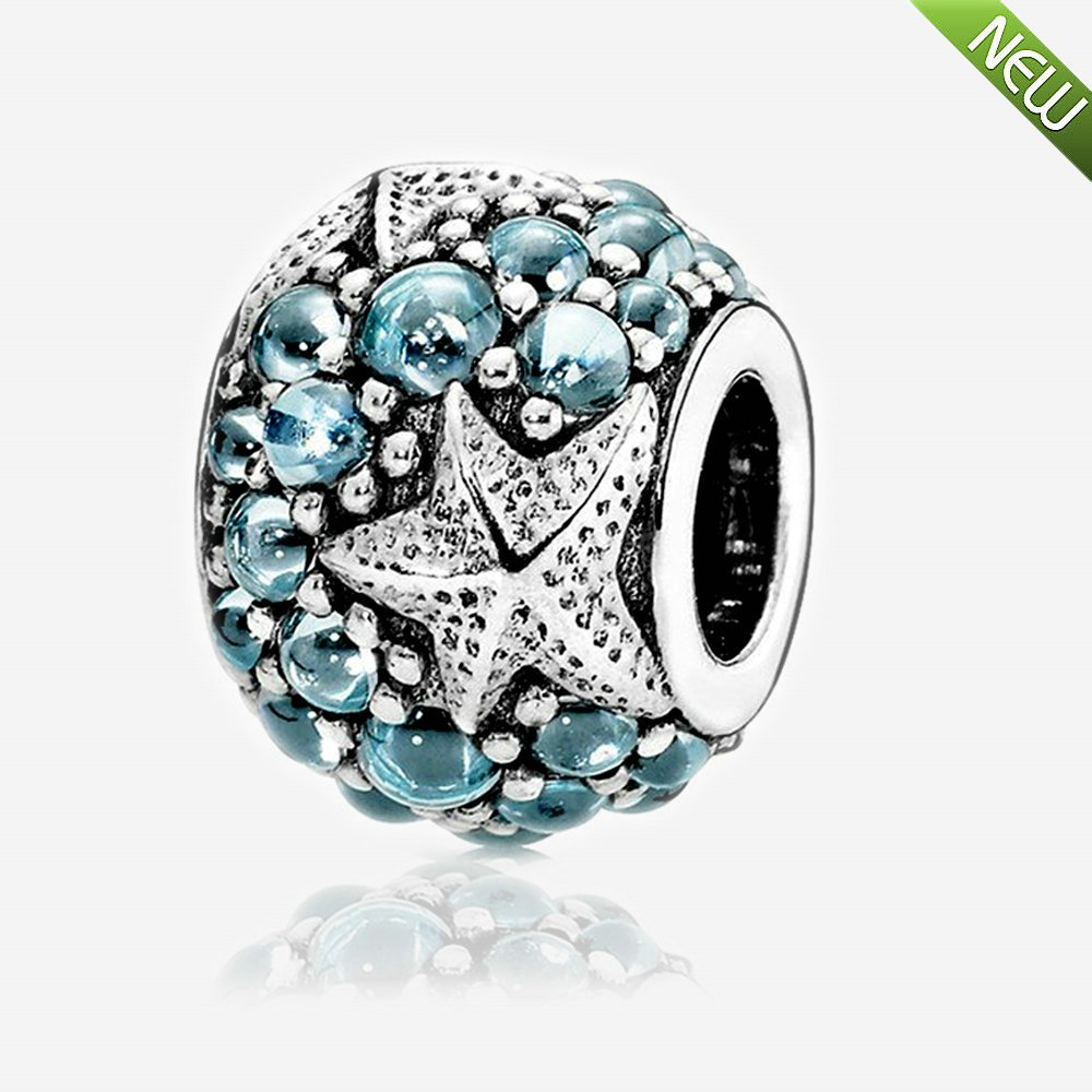 2016 Summer Oceanic Starfish Charms With Cubic Zirconia 100% 925 Sterling Silver Charm DIY Beads Fits for Pandora Bracelet DIY Making Jewelry PANDOCCI PAC166