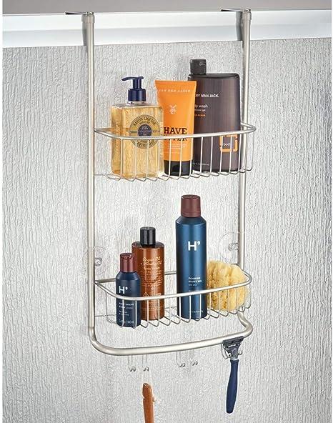 mDesign Estantería de ducha para colgar sobre la mampara – Práctico colgador para ducha con colocación sin herramientas – Cestas metálicas con ventosas para los accesorios de ducha – plateado mate: Amazon.es: Hogar