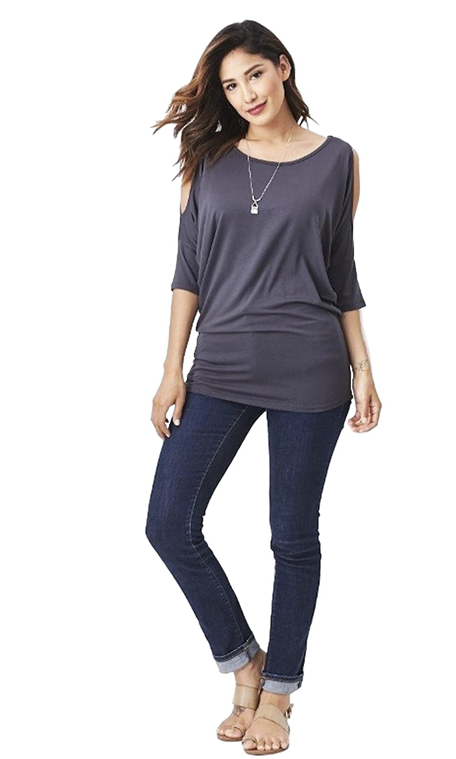 Dark Grey Emmas Closet Women's Cut Out Shoulder Dolman Sleeve Top