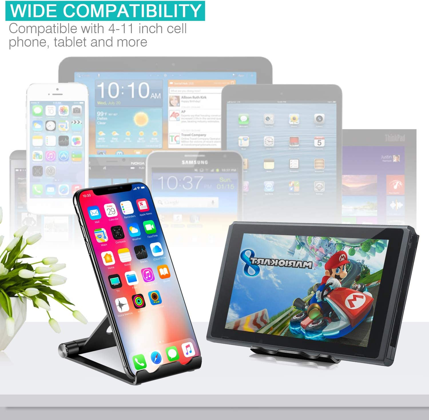 Portable Phone Stand: Full 360/° Adjustable Cell Phone Holder Cradle Dock for Phone Xs XR X 8 7 6 6S Plus Cell Phone Stand 4-11 - Black Universal Aluminium Stand for Cellphones and Tablets