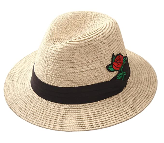 4346e7f40b1df Tomily Women s Panama Hat Foldable Packable Straw Beach Summer Fedora Rose  Lace Sun Hat (Beige