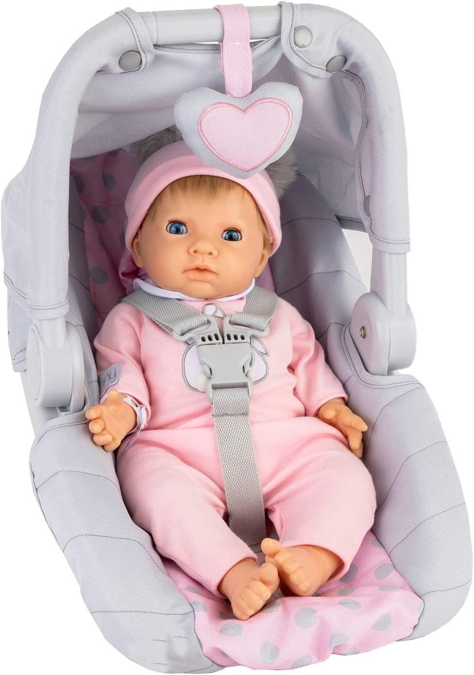 Tiny Treasures Baby Doll with carseat Set (Blonde Doll)