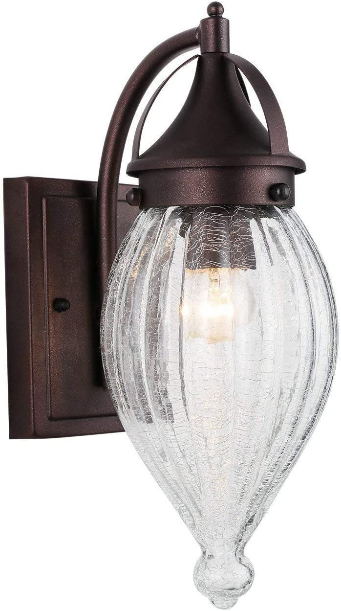 Outdoor Wall Sconce, RUNNLY Outdoor Wall Lantern with Clear Crackle Glass Exterior Wall Light Waterproof Porch Wall Light Fixtures, Oil Rubbed Bronze