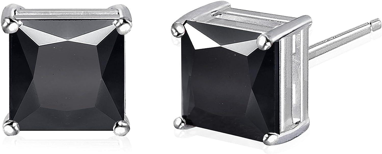 NYC Sterling Unisex Princess Cut Black Cubic Zirconia Stud Earring 3 to 10 MM