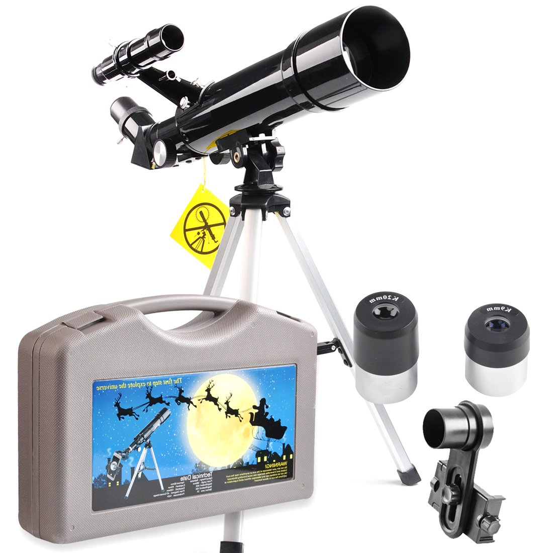 Telescope for Beginners and Kids-60 Refractor & Travel Scope with Carrying Case-60 x 360mm Telescope with Tripod and 10mm Eyepiece Phone Mount