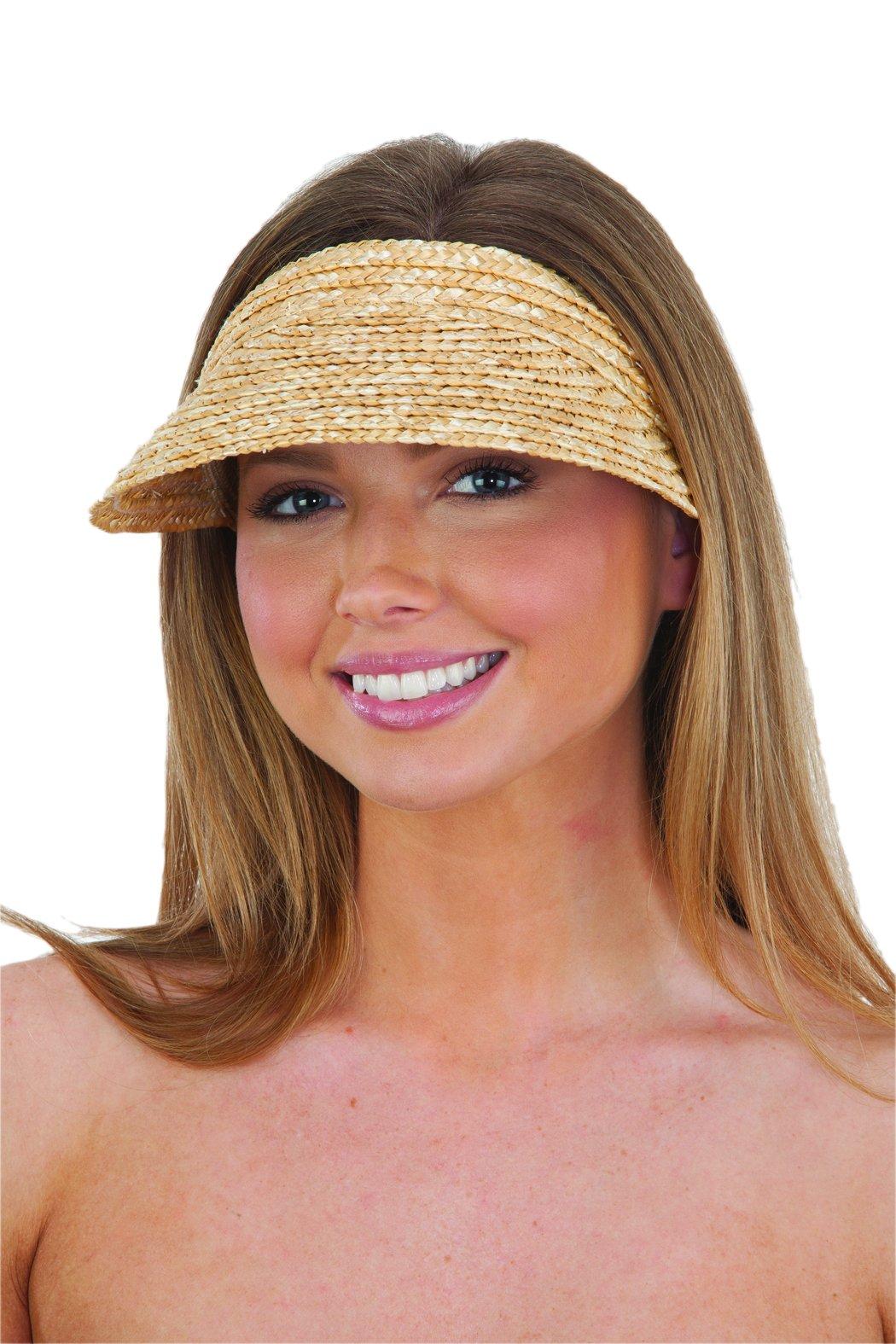 Jacobson Straw Hat - Slip On Braid Visor Tan Adult