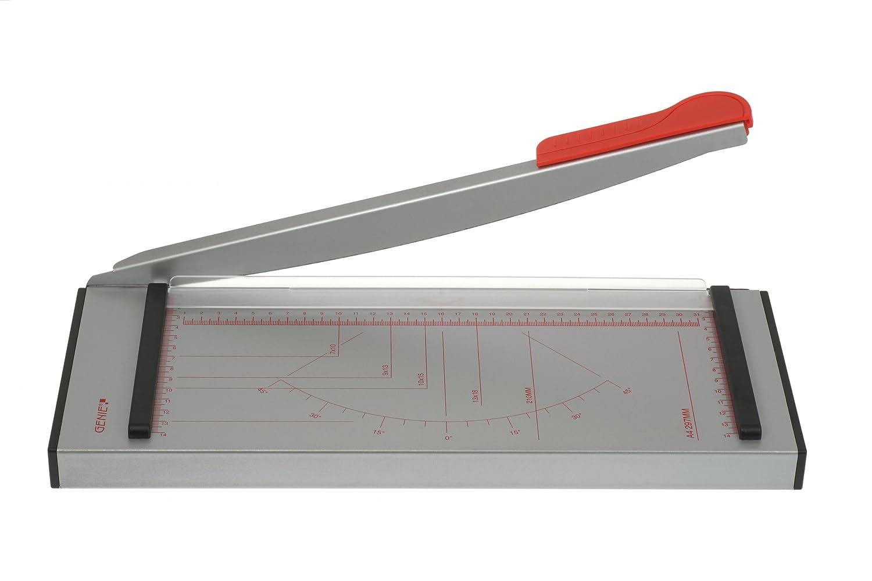 Genie GH 40 - Taglierina a leva per formati fino a DIN A4, 6 fogli, superficie in metallo di ottima qualità, grigio/rosso Dieter Gerth GmbH