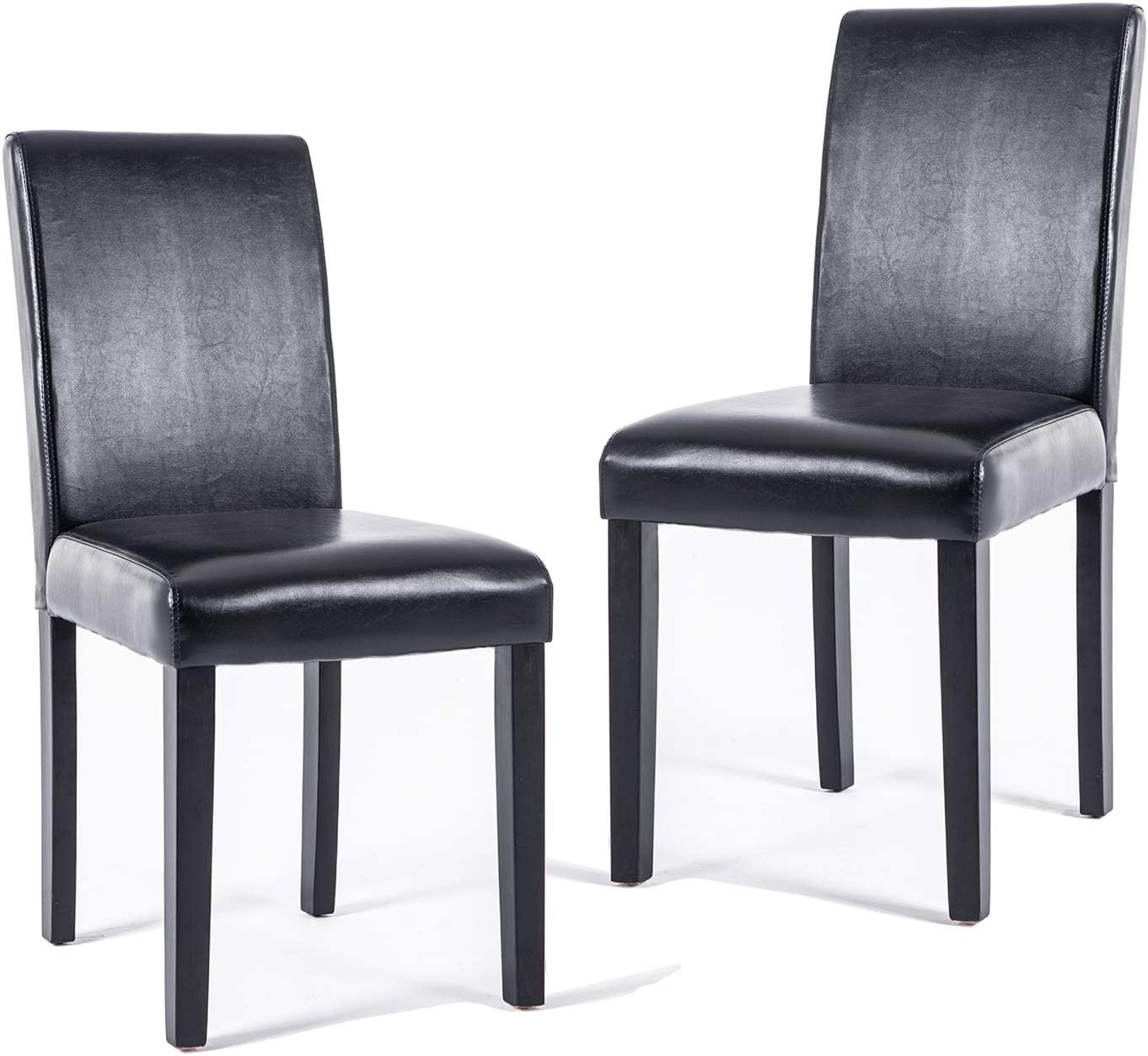 DAGONHIL Dining Chairs Leather Kitchen Parson Chair Urban Style Dining Side  Chair with Solid Wood Legs,Set of 10(Black)