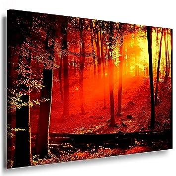 Sonnenuntergang - Wald / Bild 100x70cm / Leinwandbild fertig auf ...