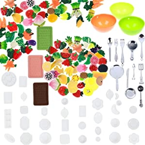 OBANGONG Miniature Foods Cake Mixed Vegetables Fruit Decoration Mixed Resin Sets for Adults Kids Doll House Pretend Kitchen Tableware Play Cooking Game Toys DIY Birthday Party Present