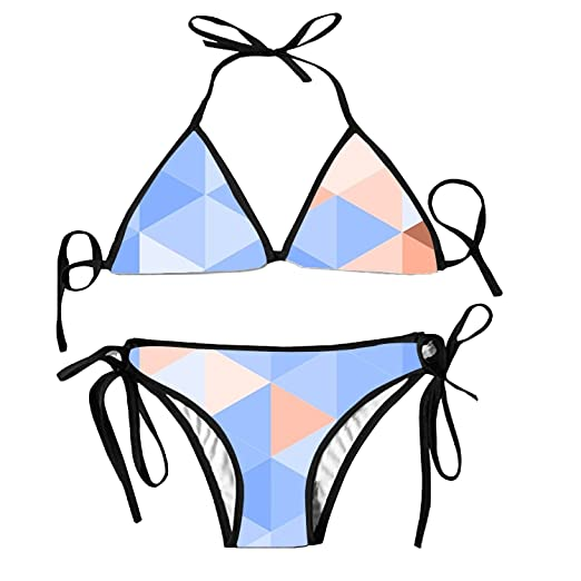 b8d9690acea28 Amazon.com: Swimsuits for Women, Blue Brown Triangles Pattern Sexy Swimwear  2 Pieces Bikini Set Women's Bathing Suit: Clothing