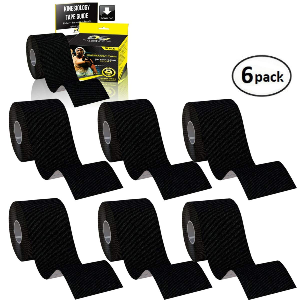 Physix Gear Sport 6 Pack Kinesiology Tape - Free Illustrated E-Guide - 16ft Uncut Roll - Best Pain Relief Adhesive for Muscles, Shin Splints Knee & Shoulder - 24/7 Waterproof Therapeutic Aid (BLACK)