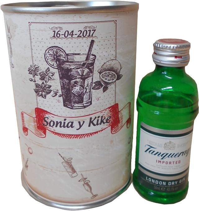 Botellin miniatura Ginebra Tanqueray en lata personalizada - Pack ...