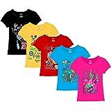 Kiddeo Girl's Cotton T-Shirt (Multicolour) - Pack of 5