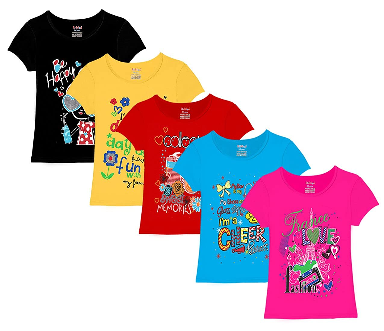Kiddeo Girl's Cotton T-Shirt - Pack of 5