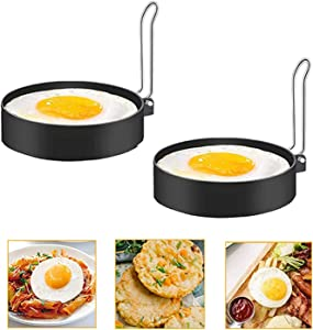 Egg Ring, Round Pancake Mold Egg Mcmuffin Sandwich Maker Bacon Cooker Poached Egg Maker Nonstick Metal Rings Breakfast Household Kitchen Cooking Tool for Frying Eggs (2 Pack)