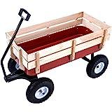 Superworthboutique Outdoor Wood Wagon Garden Cart Children Railing All Terrain Pulling 330Lbs Capacity Red
