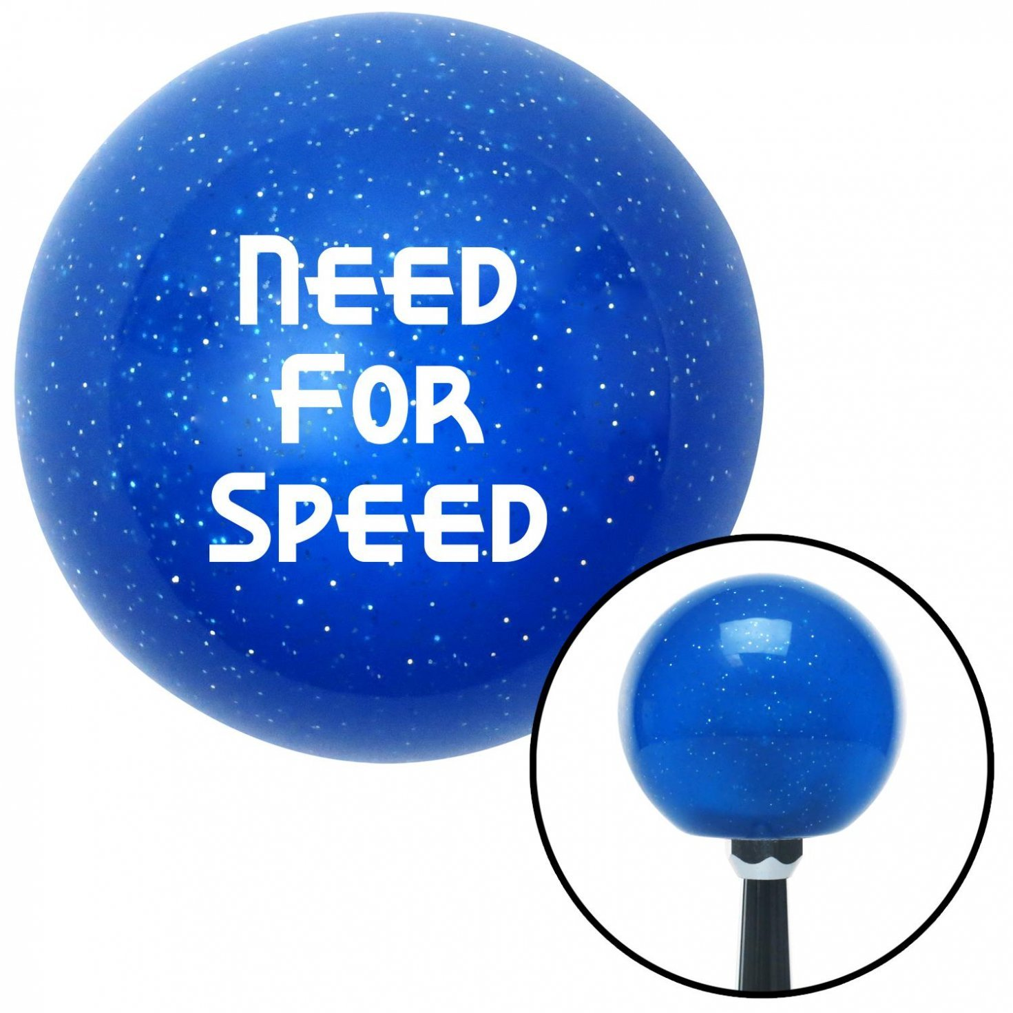 White Need for Speed American Shifter 21379 Blue Metal Flake Shift Knob