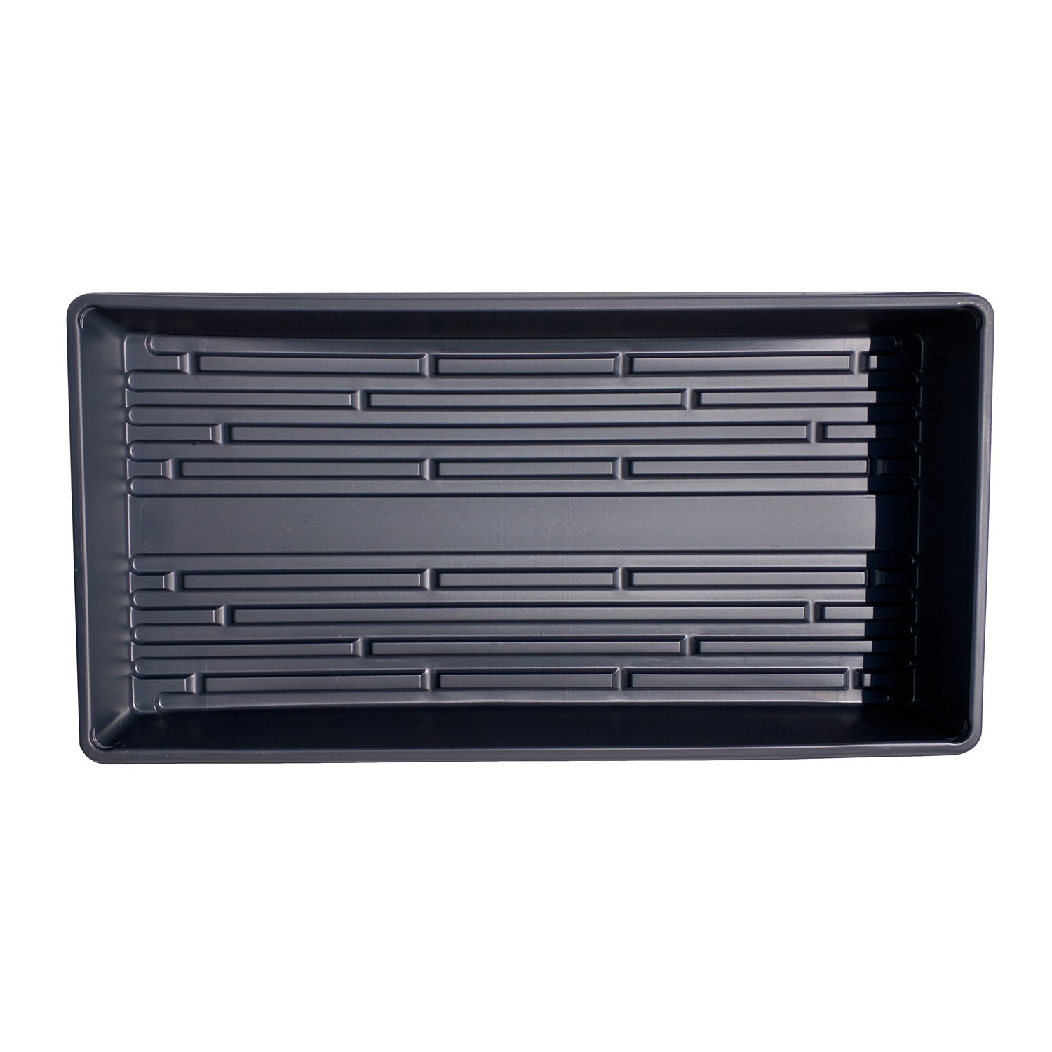 Seed Starting Trays - New Thicker Plastic - Made in USA - 1020 Trays Solid Bottom Premium Quality - Garden, Greenhouse, Hydroponics, Wheatgrass, Microgreens (Black No Holes, 50 Pack)