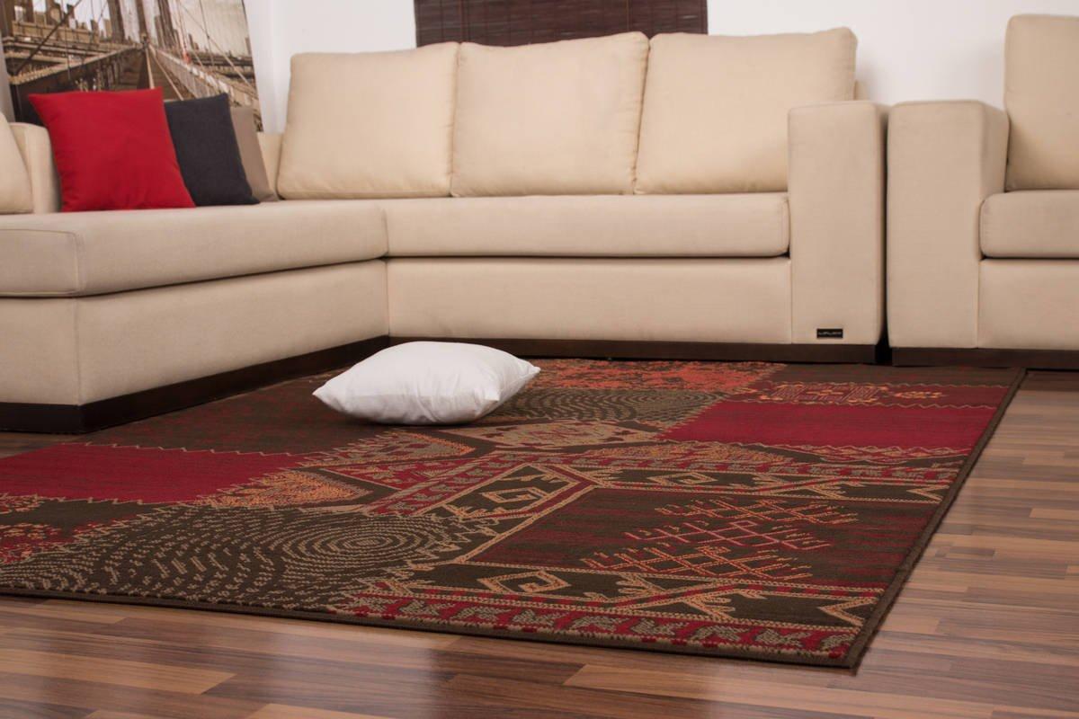 Teppich Patchwork kasten Muster Azteken Design Modern Teppiche Rot Grau Grau Grau B011KNCLU2 Teppiche & Lufer 1030db